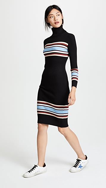 EVIDNT Ribbed High Neck Dress