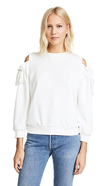 EVIDNT Cold Shoulder Sweatshirt In White