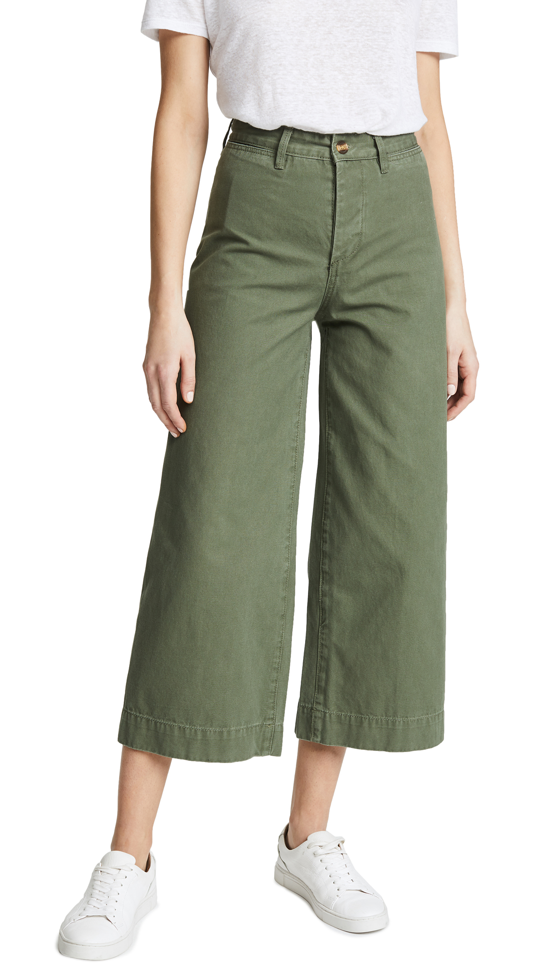 EVIDNT Wide Leg Cropped Pants In Olive