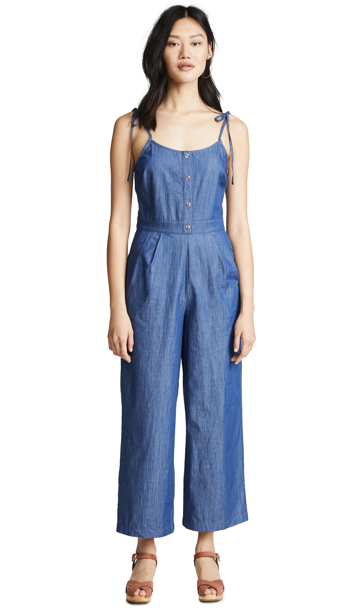 EVIDNT Tie Shoulder Jumpsuit In Chambray