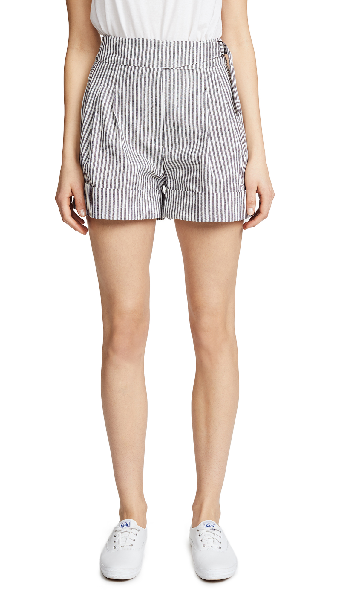 EVIDNT Cuffed Shorts In Black Stripe