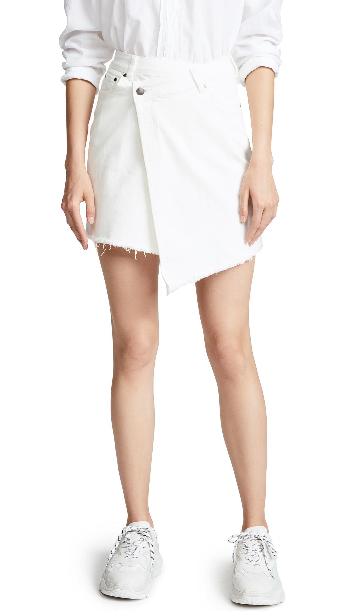 EVIDNT Raw Hem Miniskirt In White