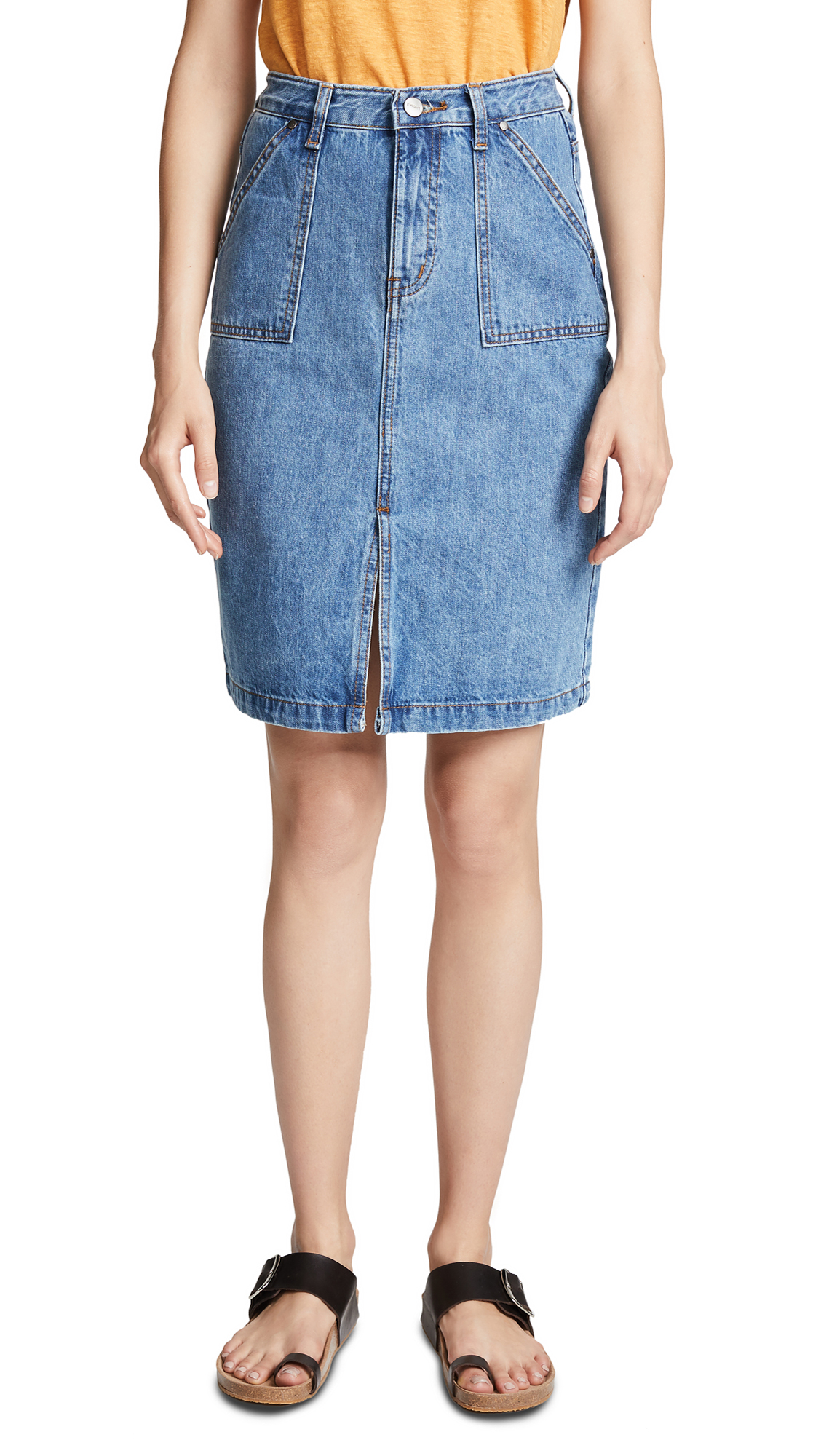 EVIDNT Denim Pencil Skirt In Fairfax
