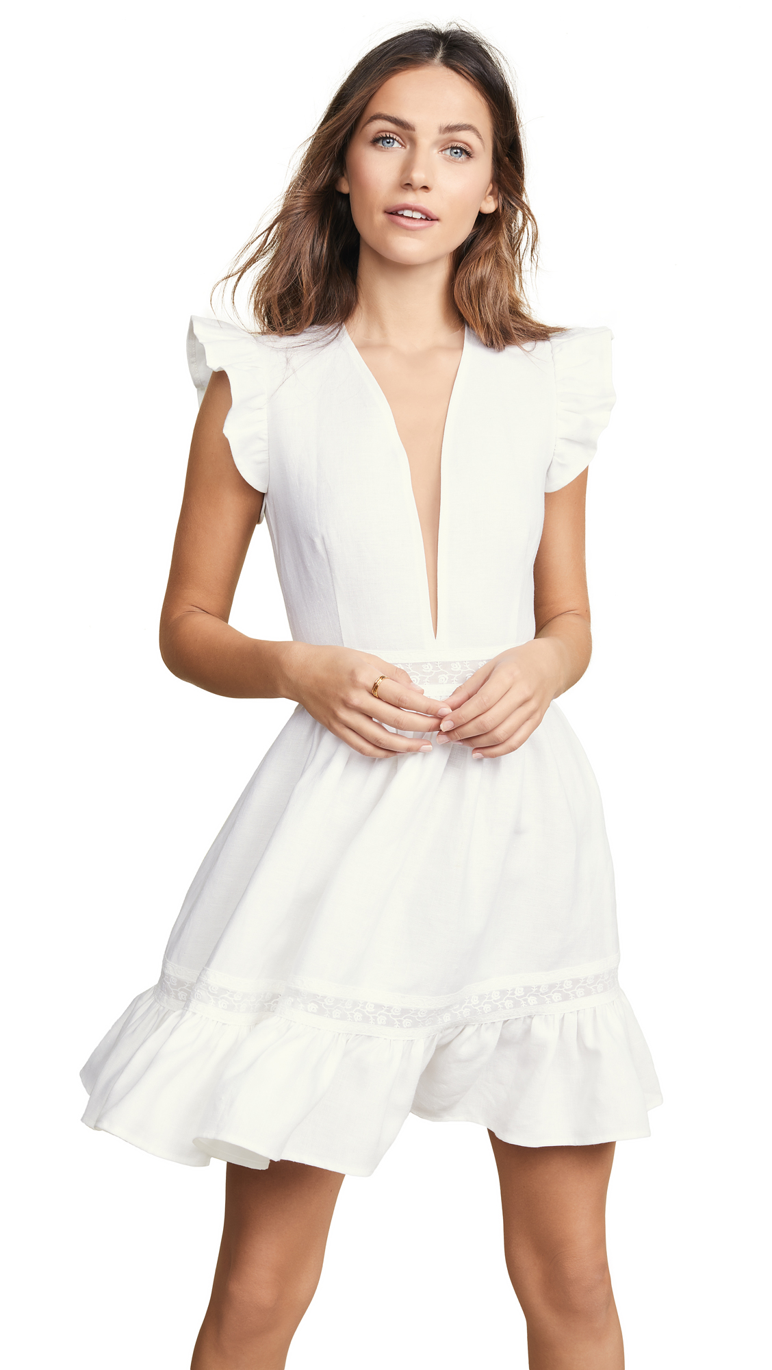 EWA HERZOG Deep V Linen Dress in White