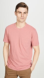 Faherty Short Sleeve Sunwashed Pocket Tee