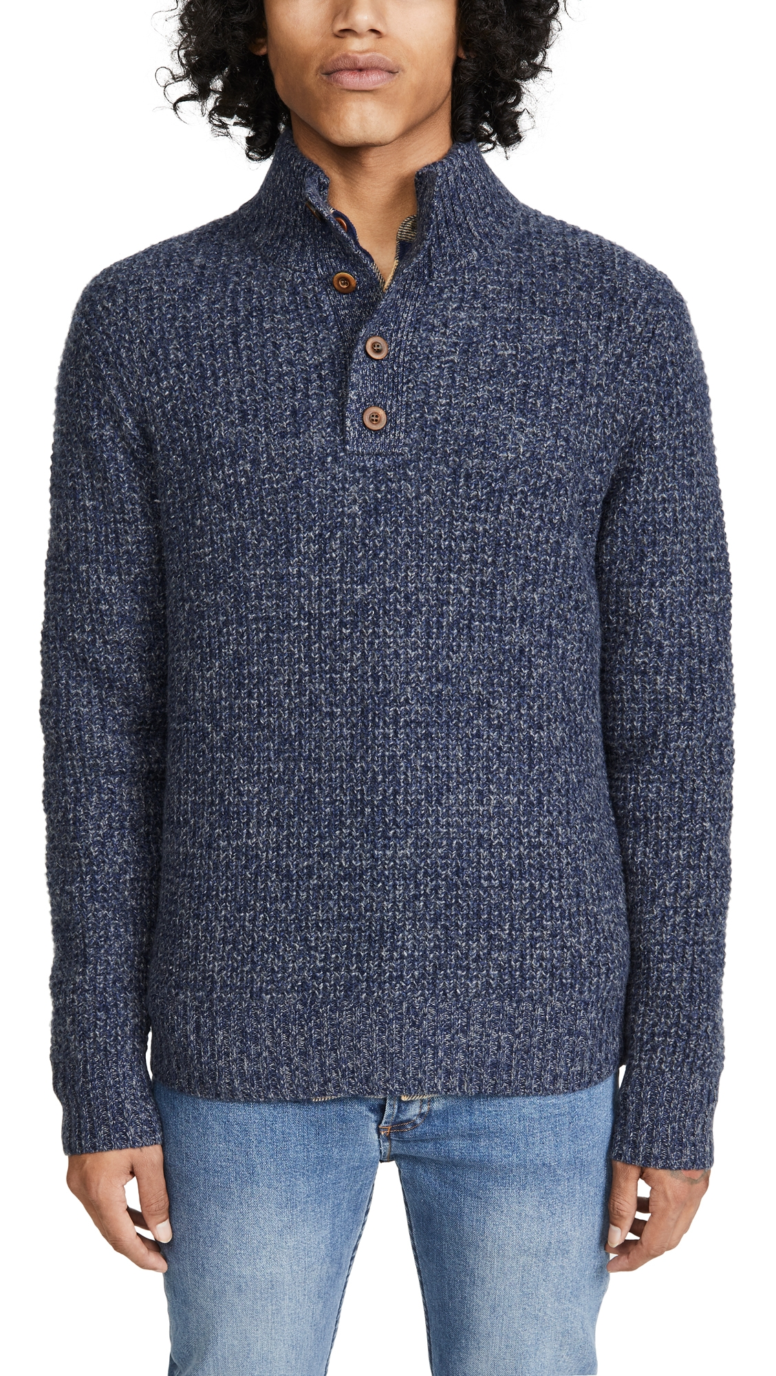 Faherty Sweaters CASHMERE MOCKNECK BUTTON SWEATER