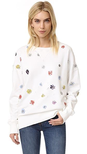 Faith Connexion Flower Embroidered Sweatshirt - White