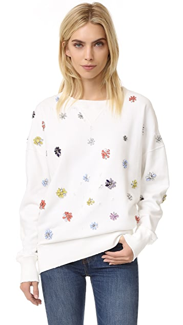 Faith Connexion Flower Embroidered Sweatshirt