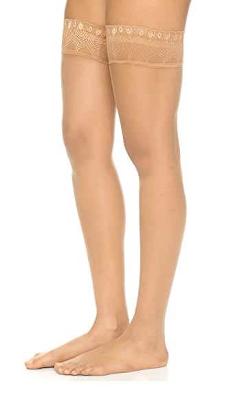 Falke Lunelle 8 Peacock Stay Up Tights - Golden