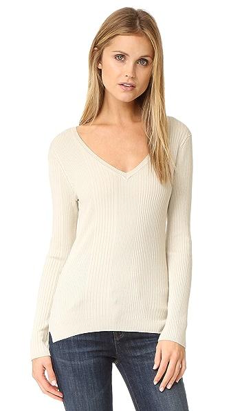 525 America Variegated Rib V Neck Sweater - French Vanilla