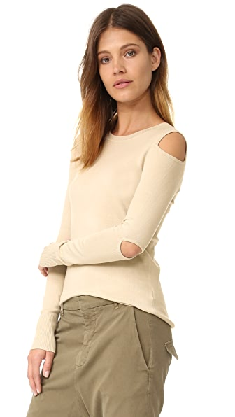 525 America Cold Shoulder Cutout Crew  Neck Sweater