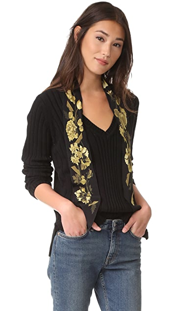 525 America Deep V Neck Variegated Rib Sweater