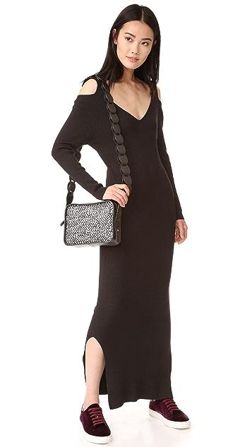 525 America Rib V Neck Cold Shoulder Dress