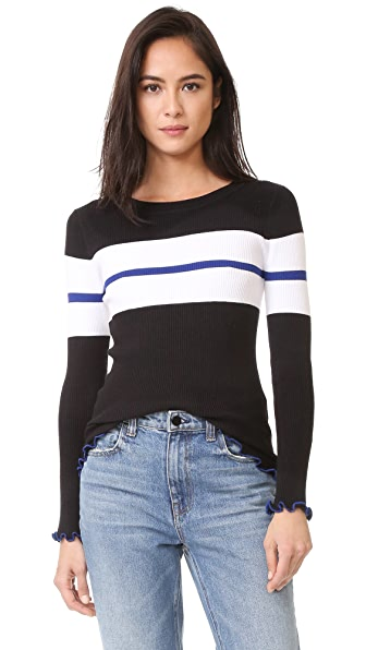 525 America Ruffle Edge Stripe Sweater