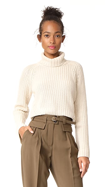 525 America Shaker Turtleneck Bell Sleeve Sweater In French Vanilla