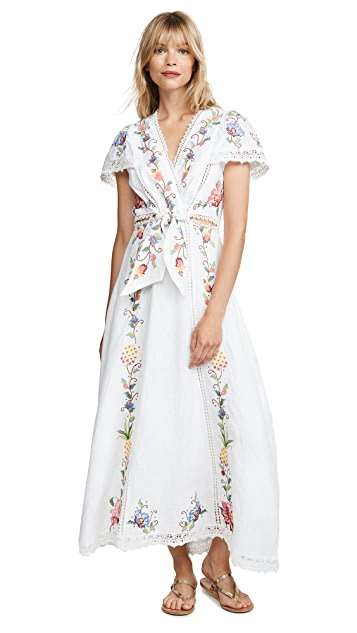FARM Rio Embroidered Front Knot Dress