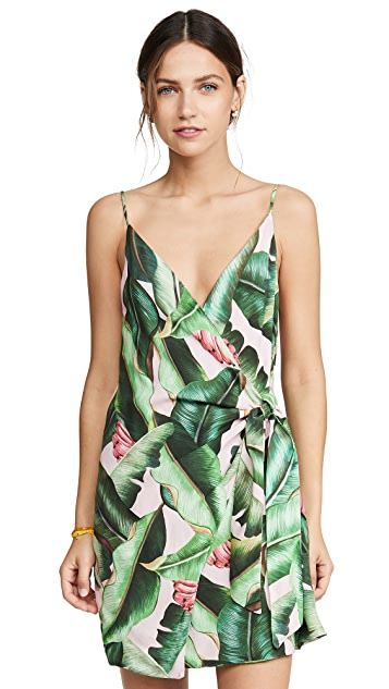 FARM Rio Pink Palms Mini Wrap Dress