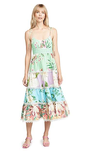 FARM Rio Mixed Floral Midi Dress