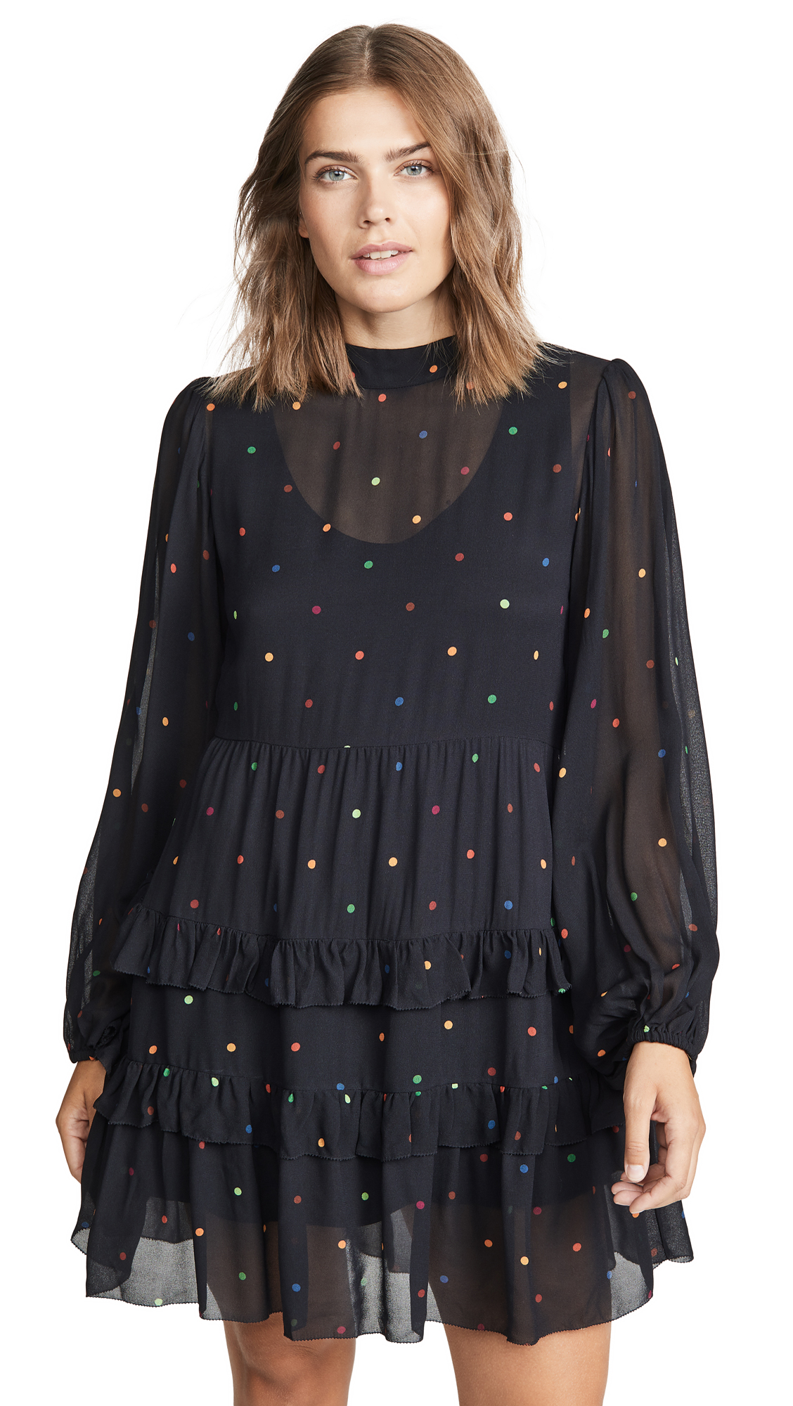 Buy FARM Rio online - photo of FARM Rio Black Dots Mini Dress