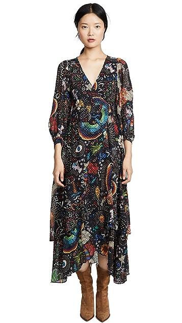 FARM Rio Black Borogodo Wrap Dress