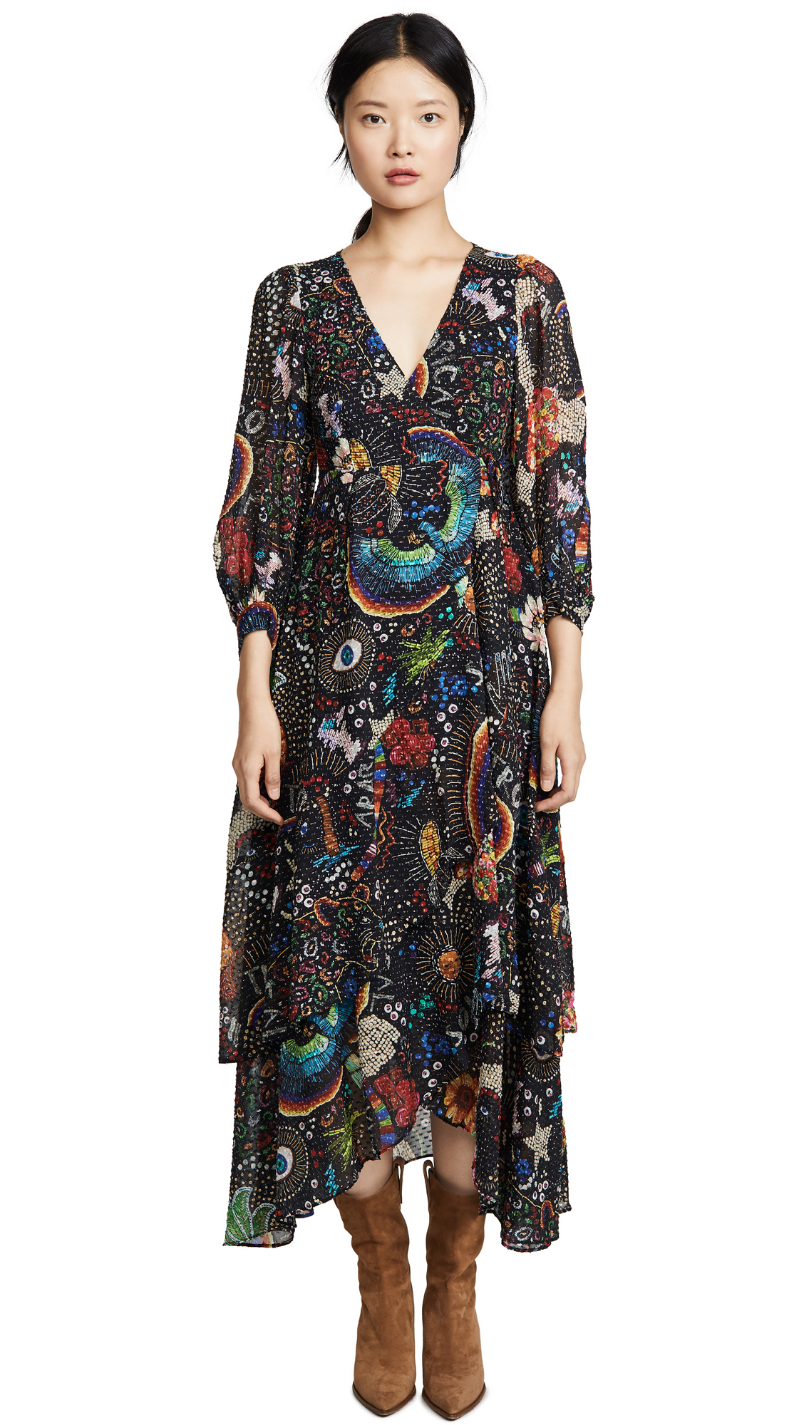 Buy FARM Rio online - photo of FARM Rio Black Borogodo Wrap Dress