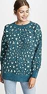 FARM Rio Green Leopard Knit Sweater
