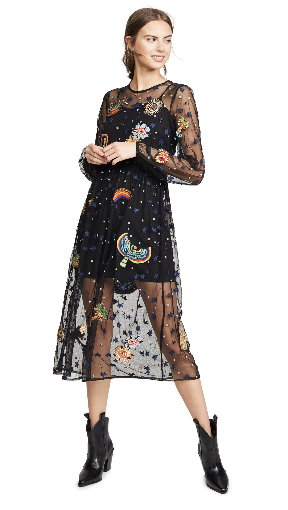 Buy FARM Rio online - photo of FARM Rio Embroidered Borogodo Dress