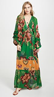 FARM Rio Artisanal Floral Long Dress