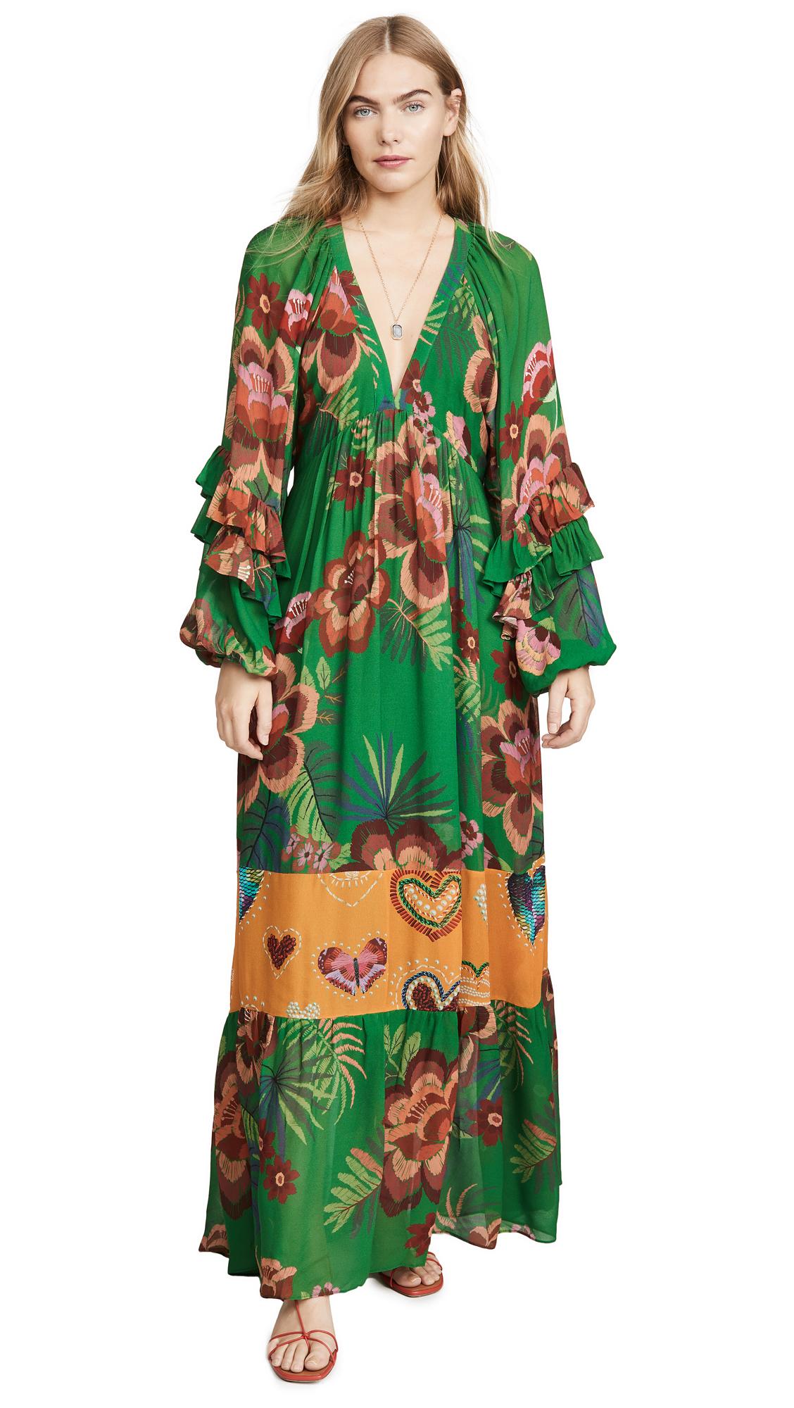 Buy FARM Rio online - photo of FARM Rio Artisanal Floral Long Dress