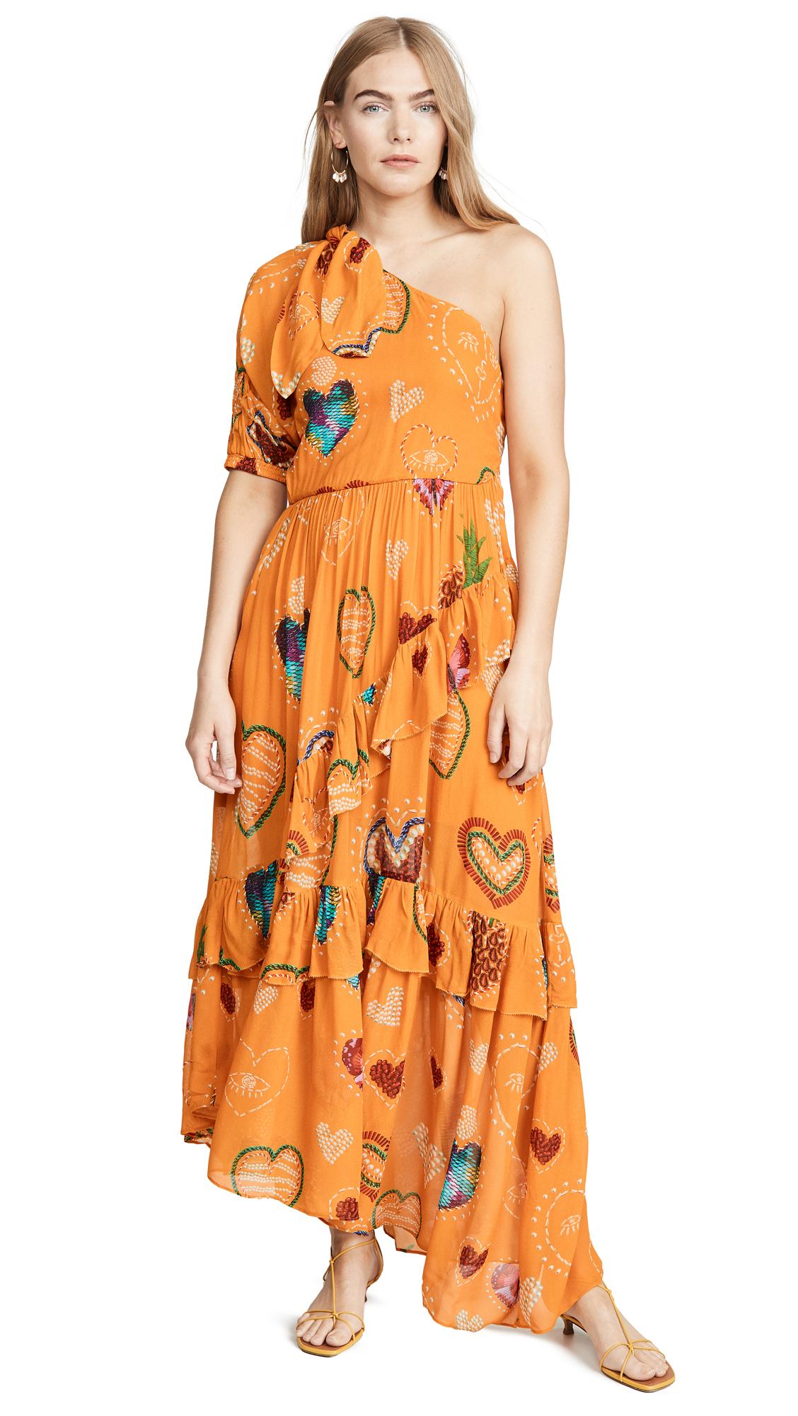 Buy FARM Rio online - photo of FARM Rio Yellow Hearts One Shoulder Dress