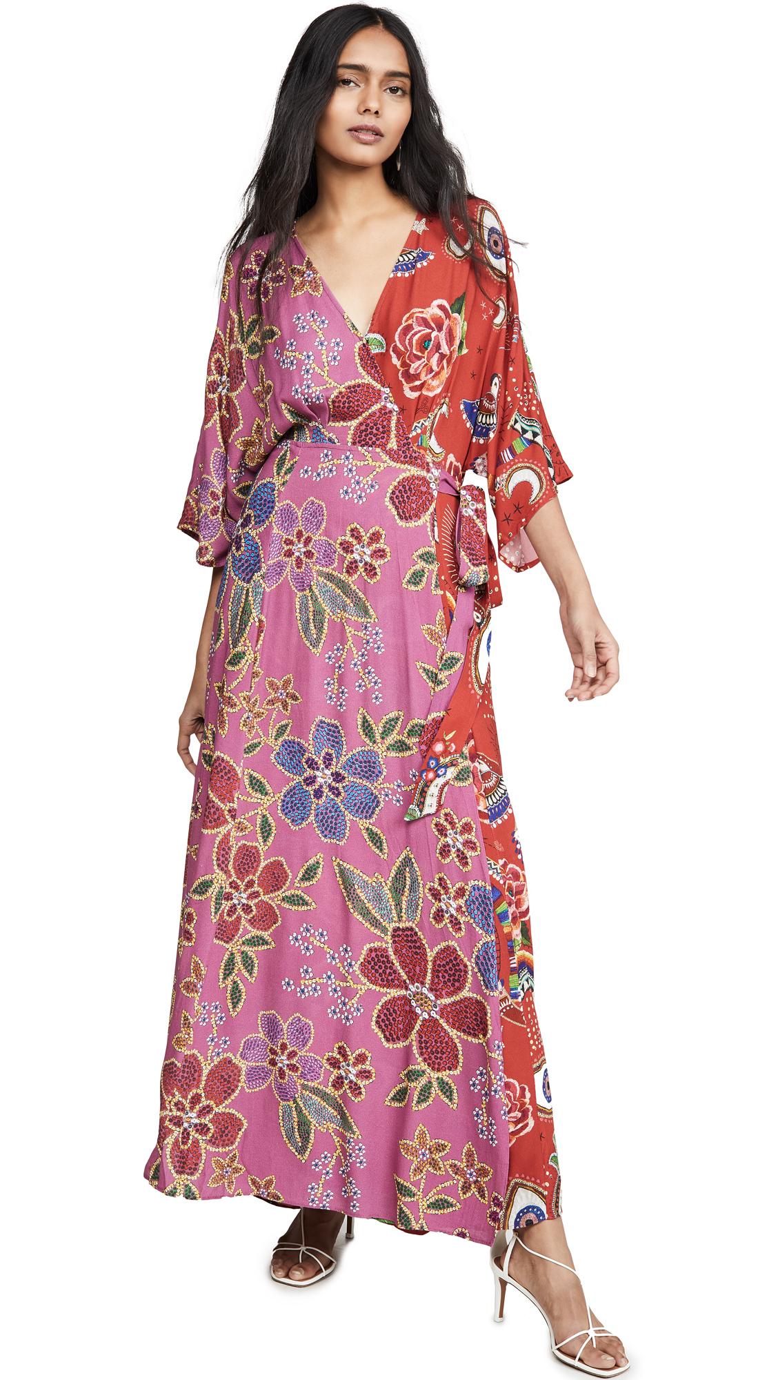 Buy FARM Rio online - photo of FARM Rio Floral Sparkle Mixed Wrap Dress
