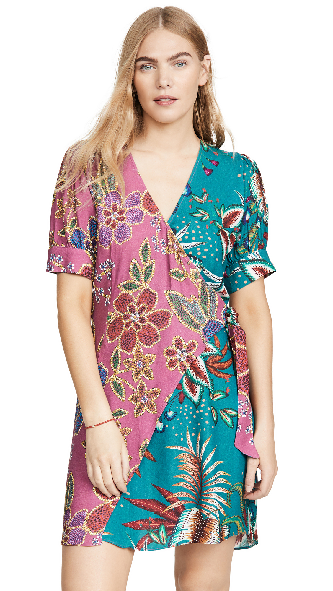 FARM Rio Floral Sparkle Mixed Wrap Dress – 60% Off Sale