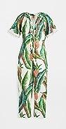 FARM Rio 森林棕榈亚麻连身衣