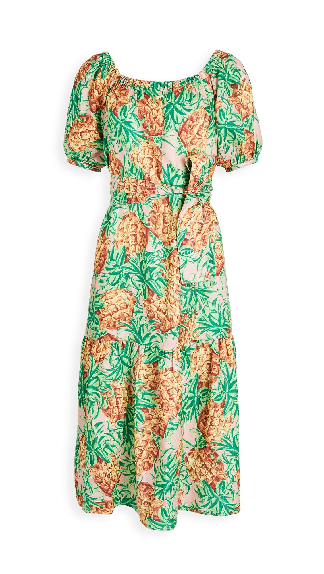 FARM Rio Pineapple Garden Linen Dress