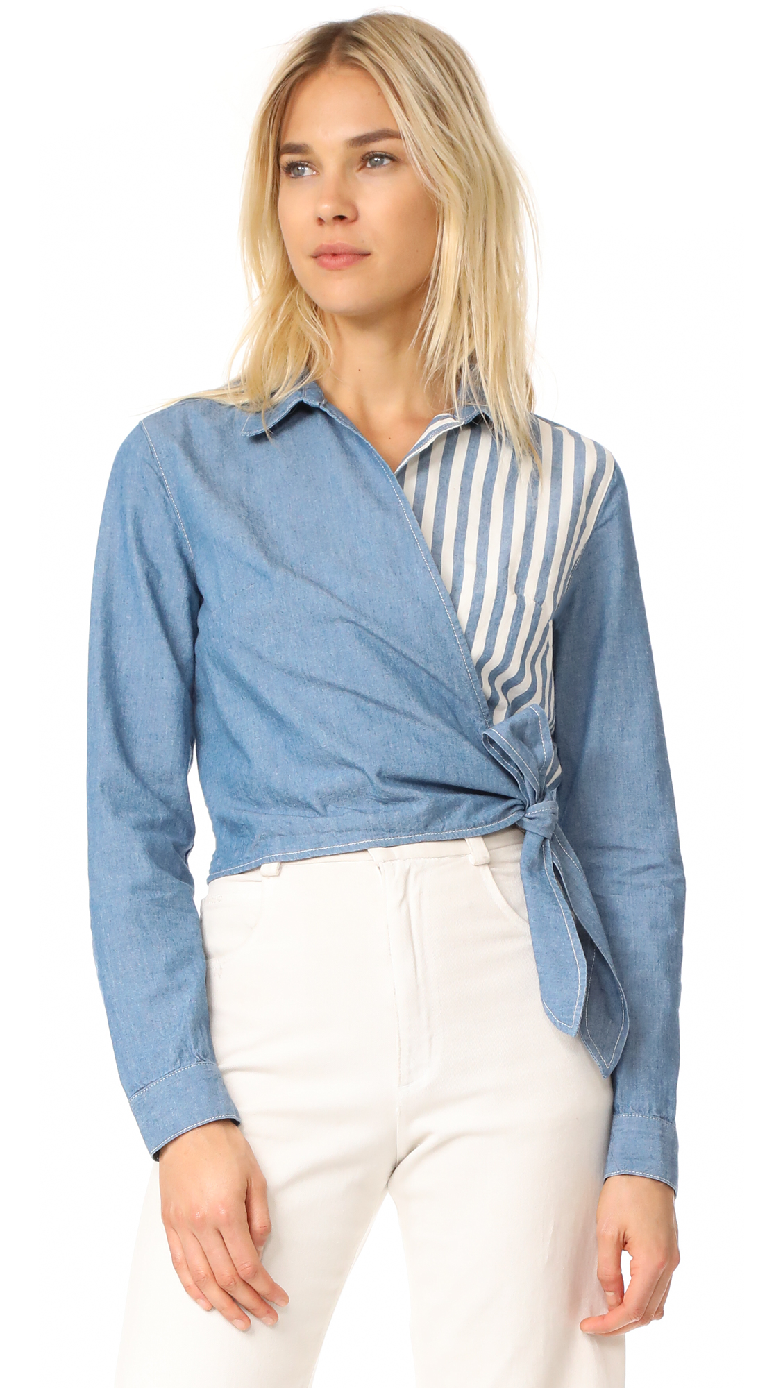 Father's Daughter Heather Wrap Blocked Wrap Top