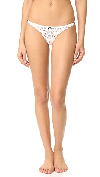 Fleur du Mal Crochet Lace Simple Thong In White