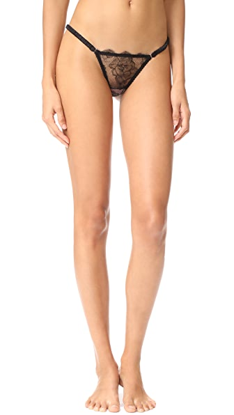 Fleur du Mal Rose Lace String Cheeky Briefs