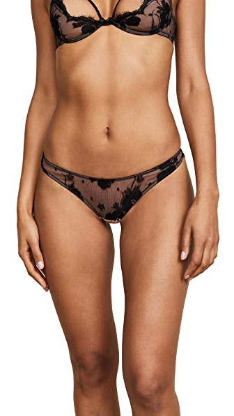 Fleur du Mal Poppy Lace High Leg Briefs In Black