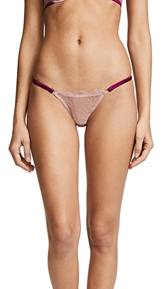 Fleur du Mal Rose Lace String Cheeky Brifes In Rose Pink