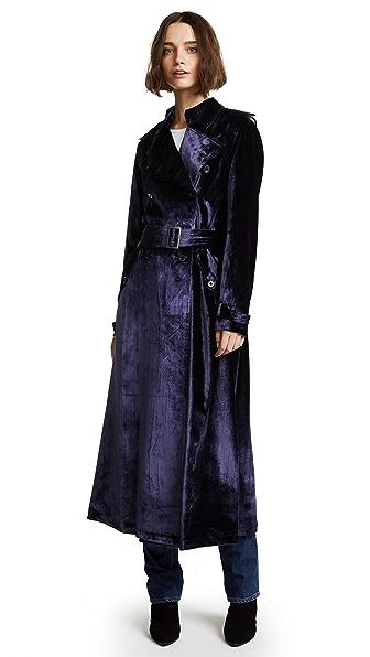 Fleur du Mal Velvet Trench Coat Robe In Midnight