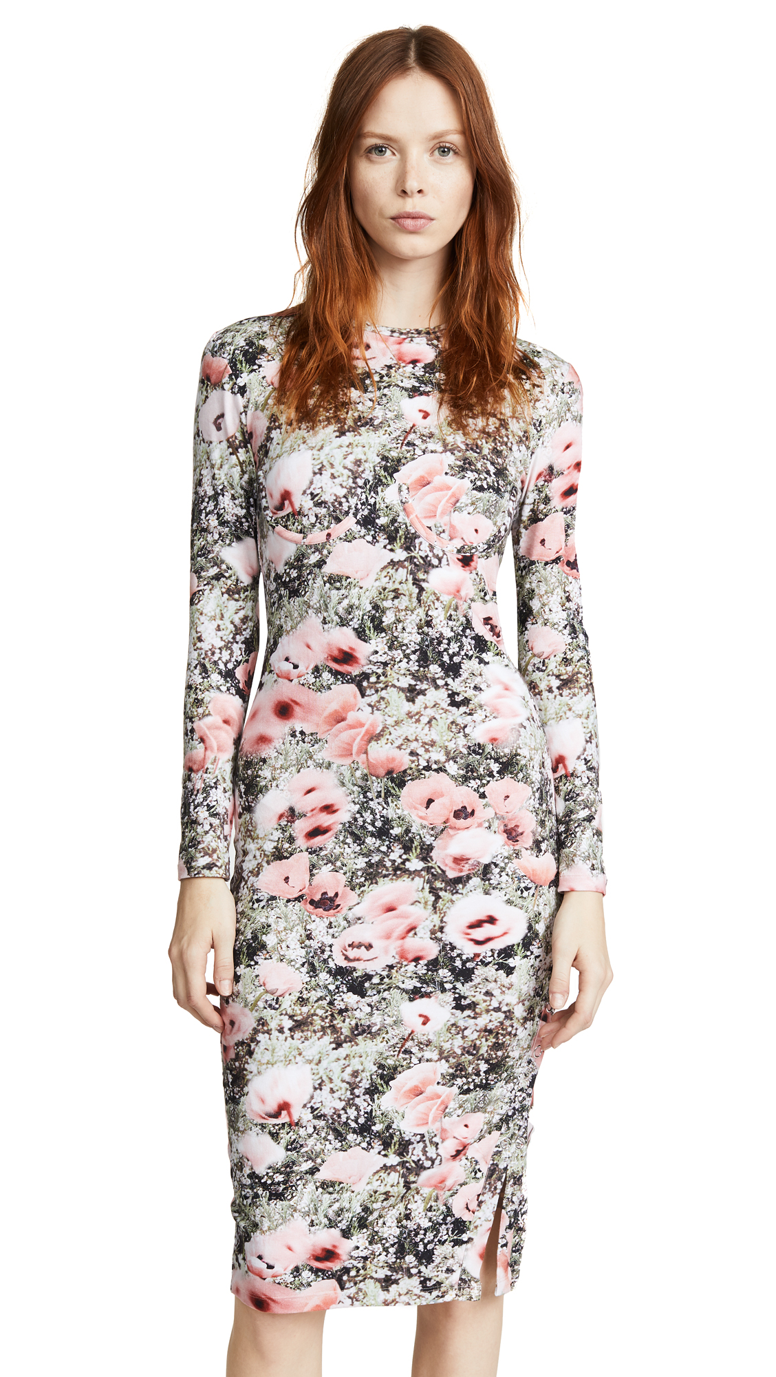 Feur Du Ma Bust Detai Knit Dress Red, Poppy Print