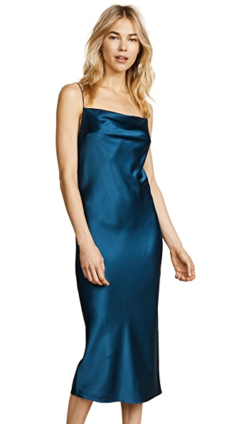 Fleur du Mal Cowl Neck Slip Dress In Teal
