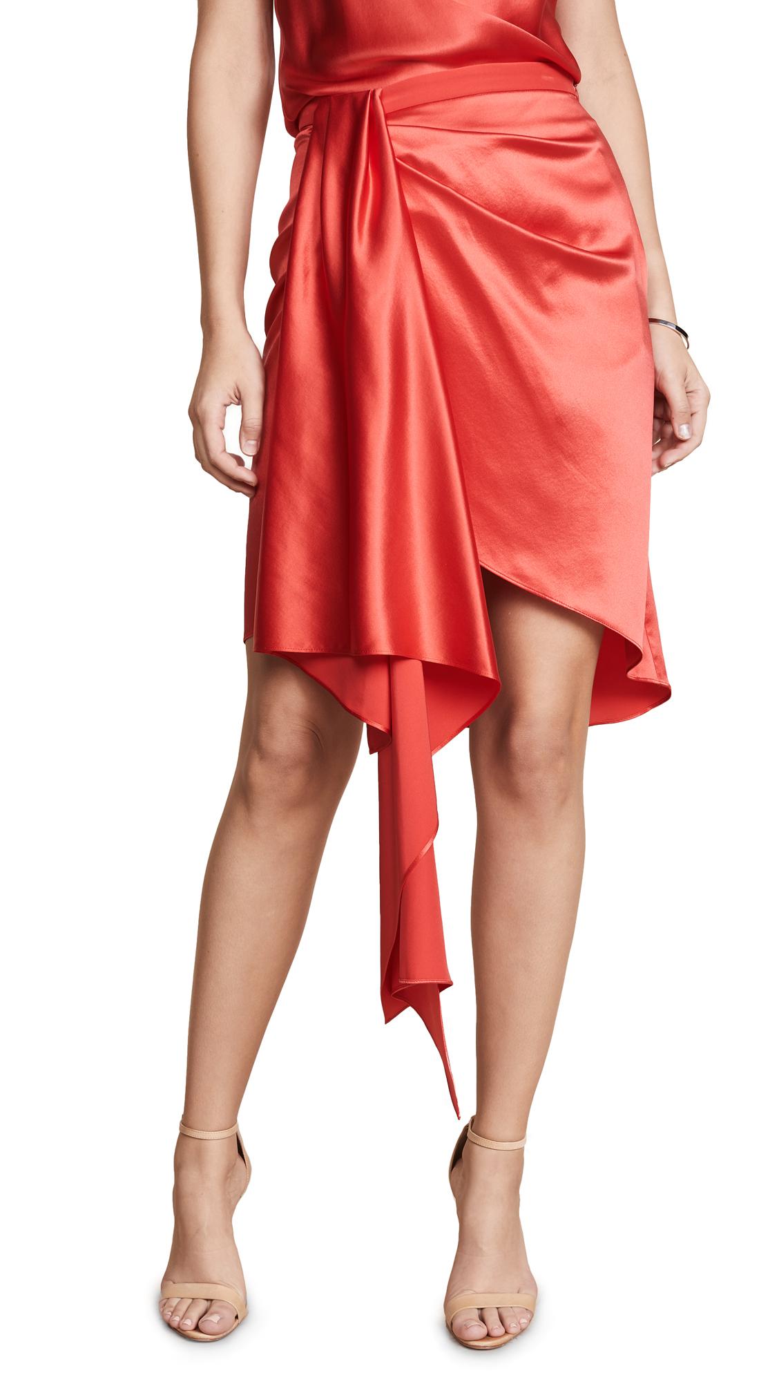 Fleur du Mal Asymmetrical Miniskirt In Foxy Red