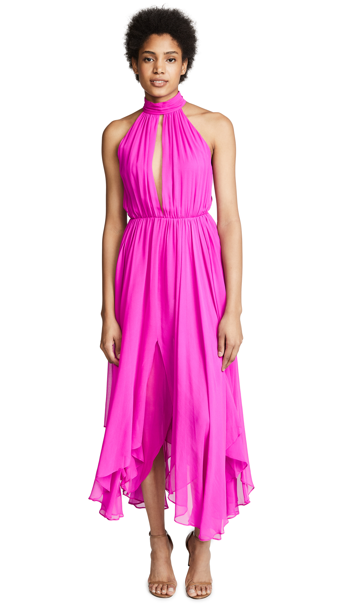 FLEUR DU MAL Keyhole Gathered Dress in Pink