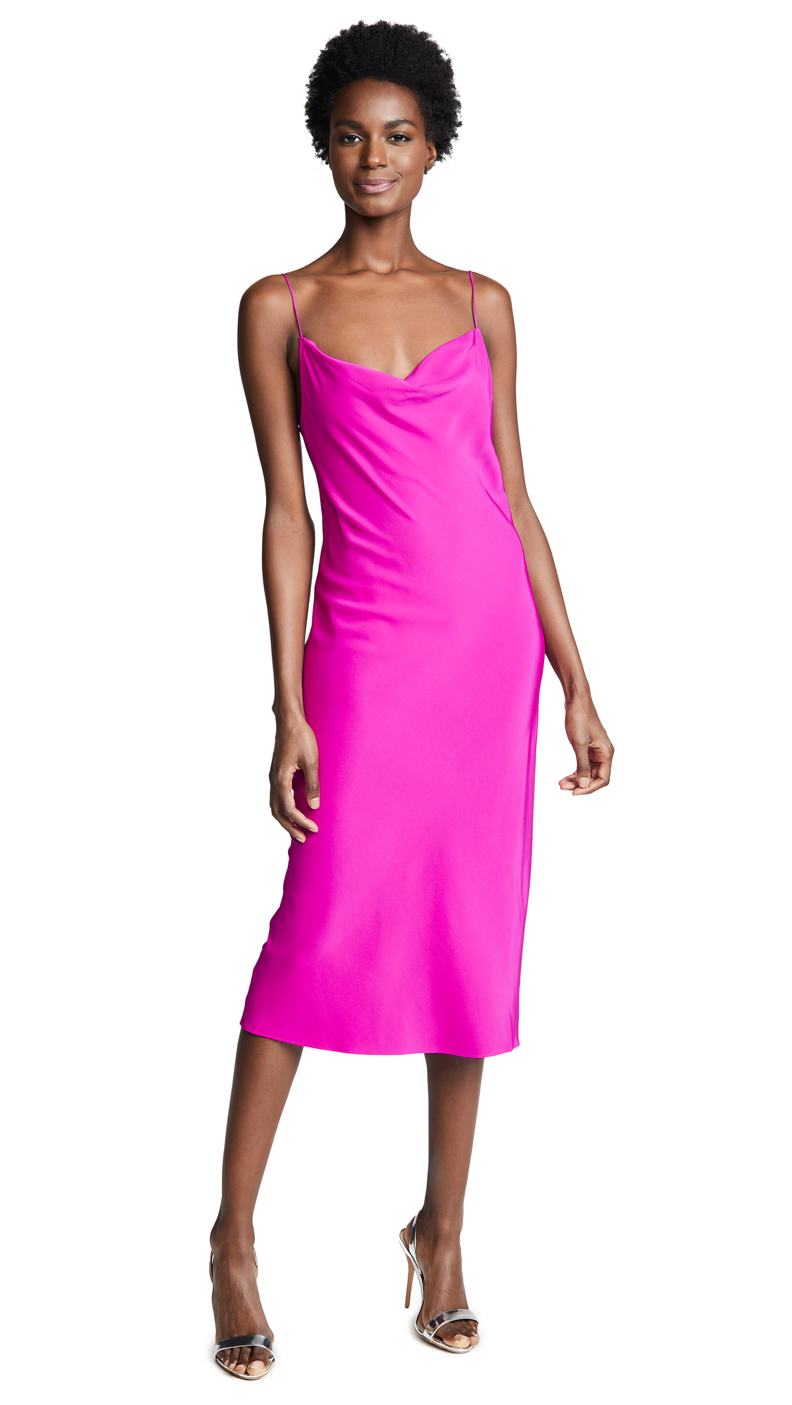 Draped Silk-Satin Twill Midi Dress, Deep Fuschia