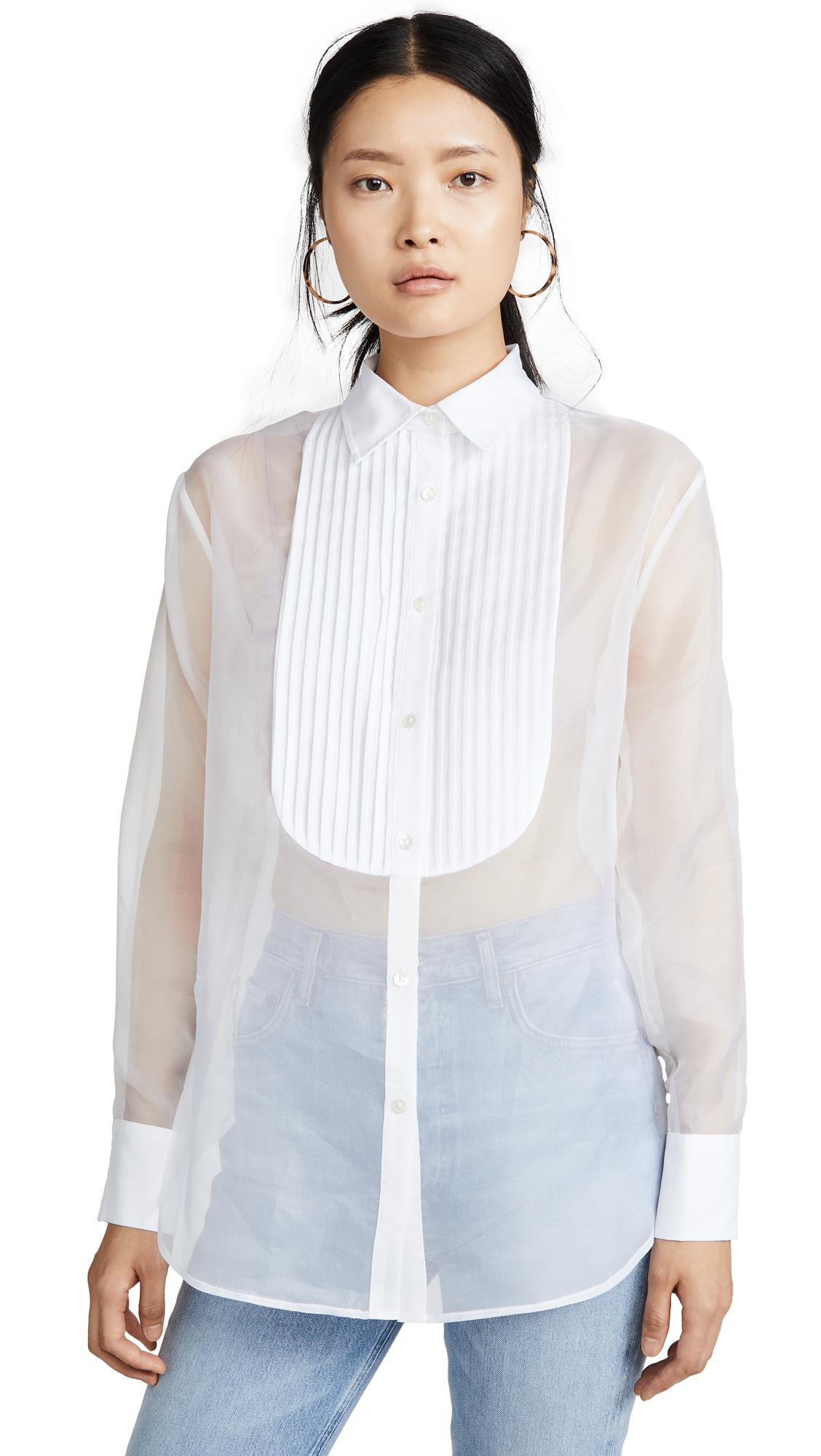 Buy Fleur du Mal online - photo of Fleur du Mal Bib Shirt with Organza Body