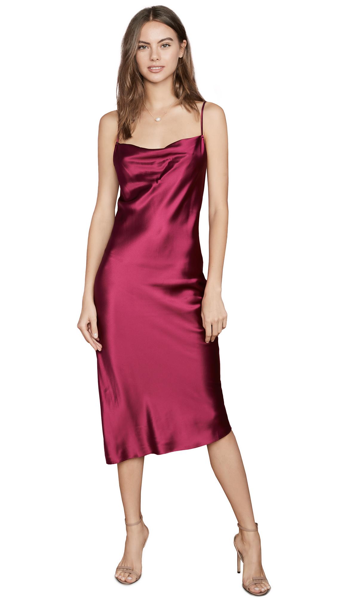 Buy Fleur du Mal online - photo of Fleur du Mal Cowl Neck Slip Dress With Slit