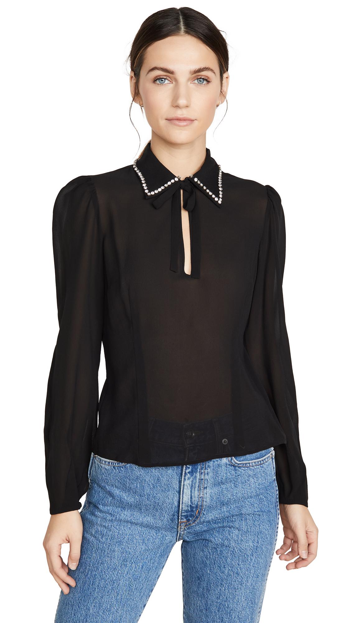 Buy Fleur du Mal online - photo of Fleur du Mal Embellished Collar Blouse