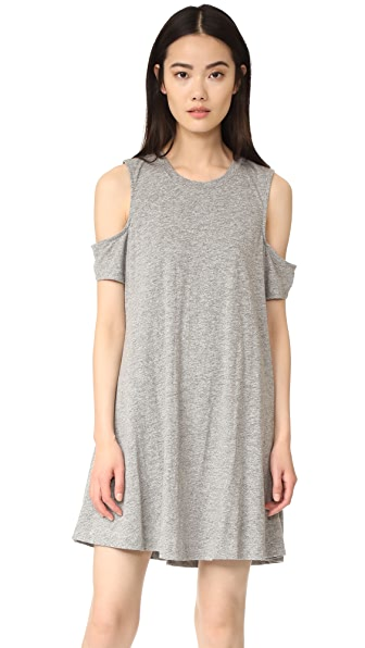 Feel The Piece Eads Cold Shoulder Dress - Heather Grey