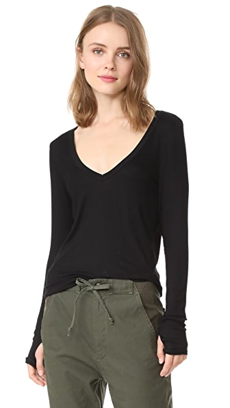 Feel The Piece Kailey V Neck Ribbed Top In Black